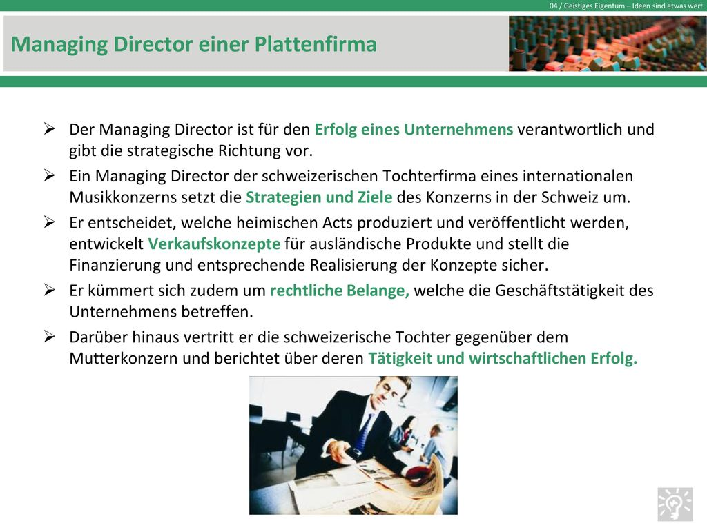 Managing Director einer Plattenfirma