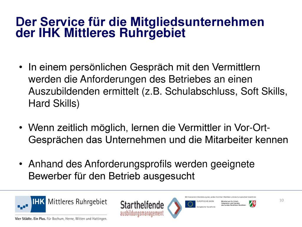 Der Service für die Mitgliedsunternehmen der IHK Mittleres Ruhrgebiet