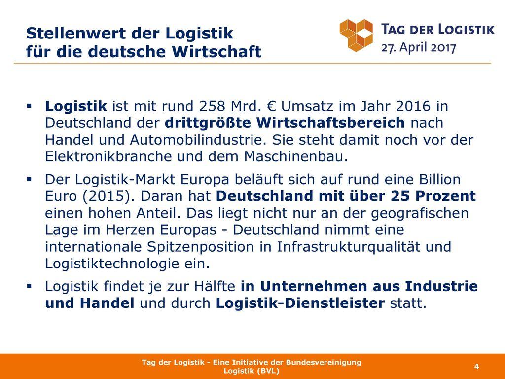 Stellenwert der Logistik für die deutsche Wirtschaft