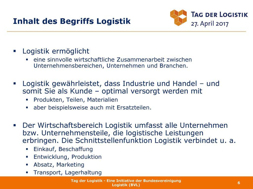 Inhalt des Begriffs Logistik