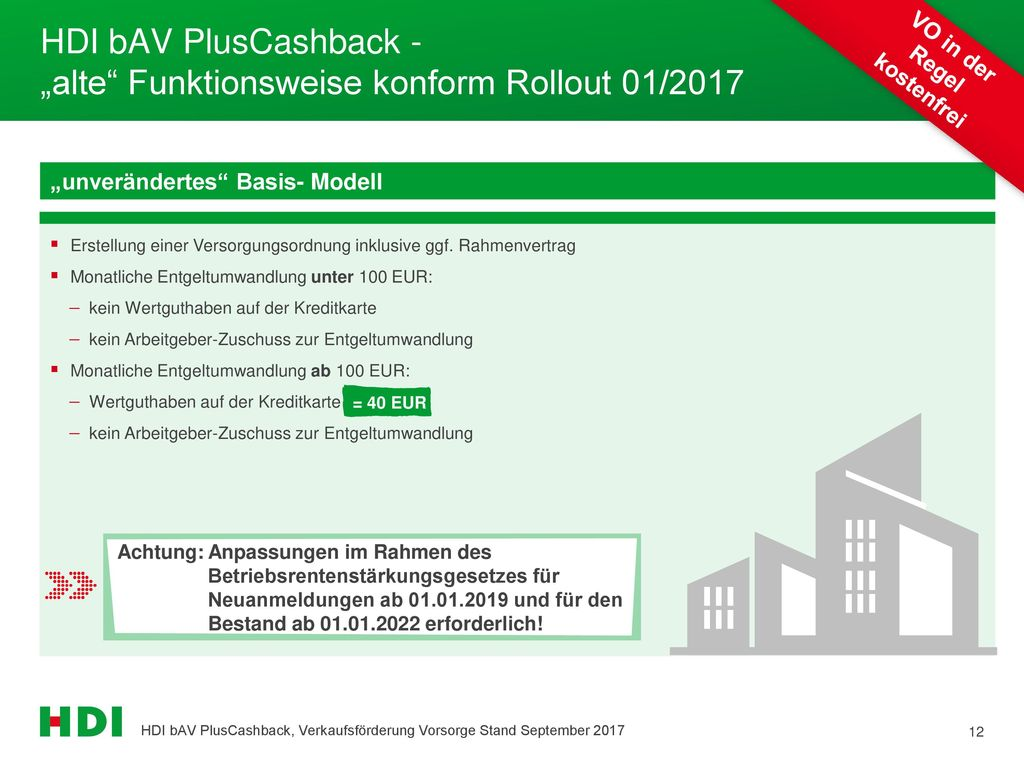 """HDI bAV PlusCashback - """"alte Funktionsweise konform Rollout 01/2017"""