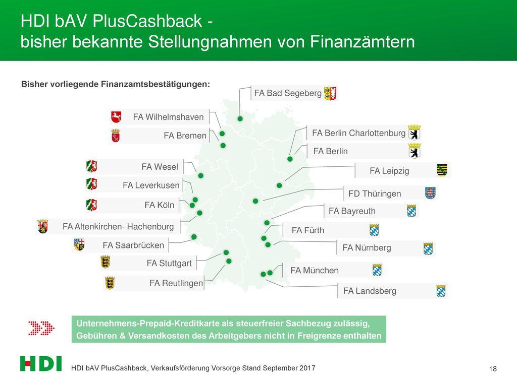 HDI bAV PlusCashback - bisher bekannte Stellungnahmen von Finanzämtern