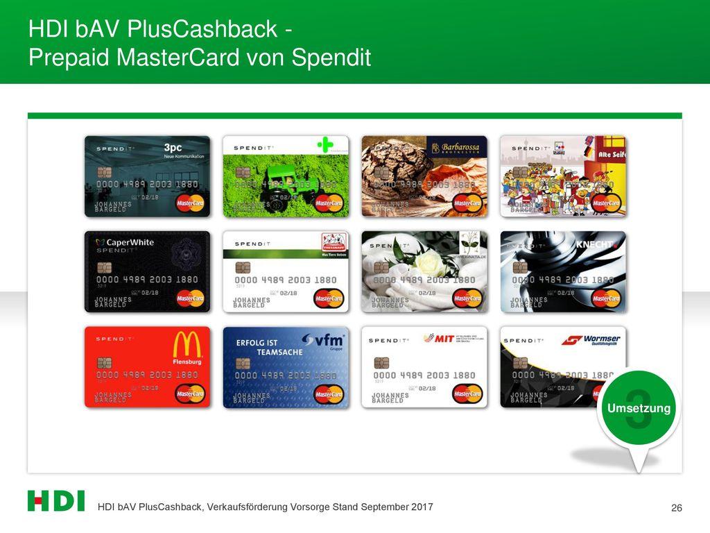 HDI bAV PlusCashback - Prepaid MasterCard von Spendit