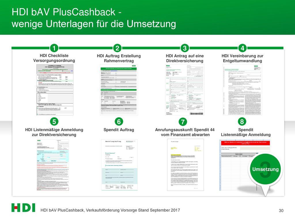 HDI bAV PlusCashback - wenige Unterlagen für die Umsetzung