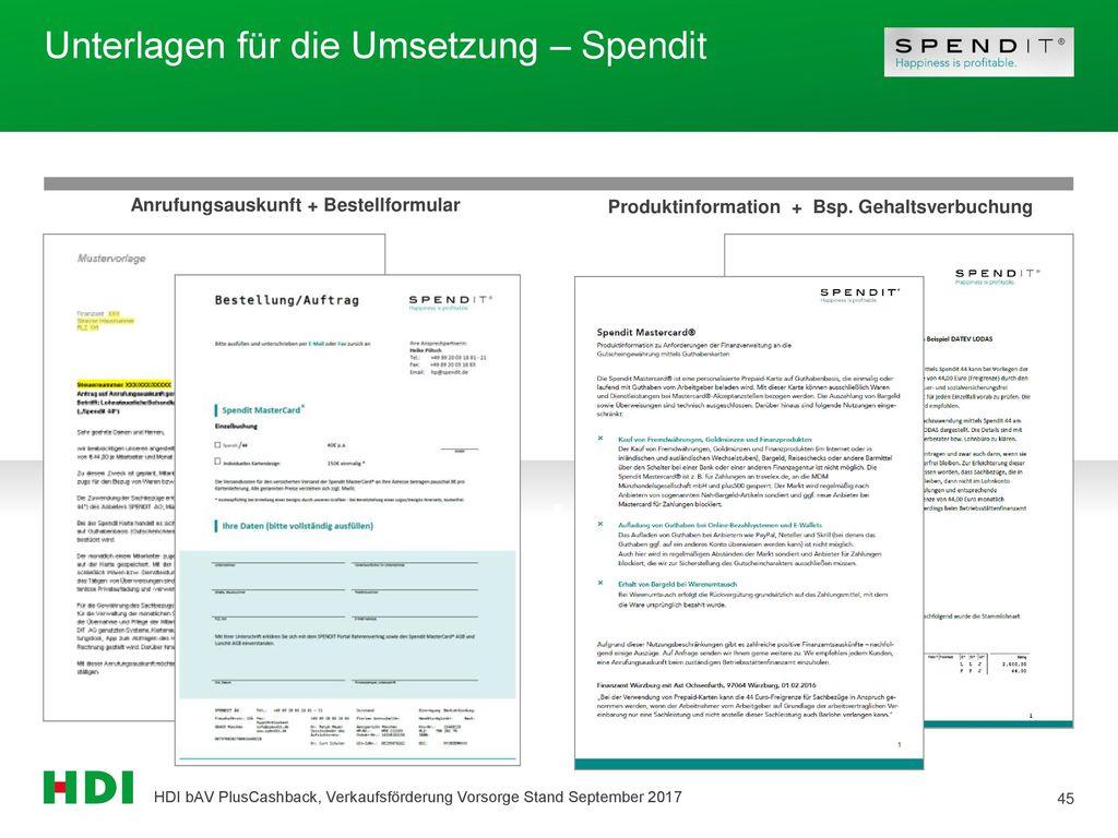 Unterlagen für die Umsetzung – Spendit