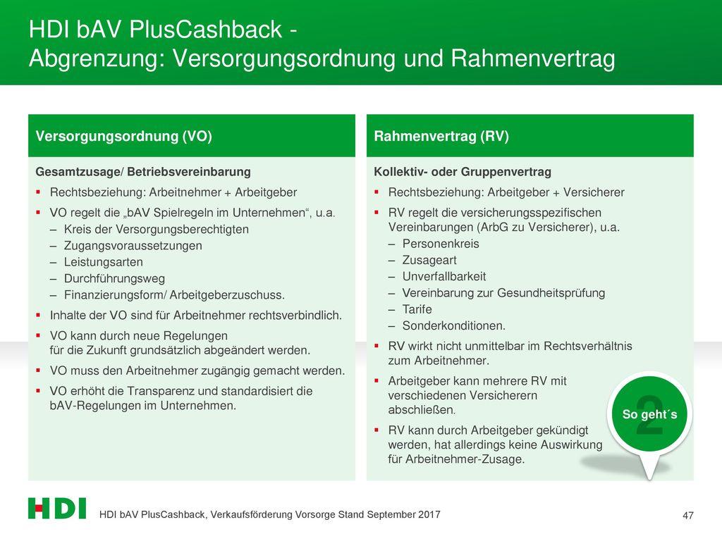 HDI bAV PlusCashback - Abgrenzung: Versorgungsordnung und Rahmenvertrag