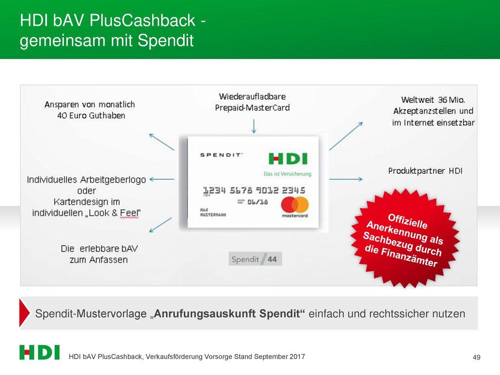 HDI bAV PlusCashback - gemeinsam mit Spendit