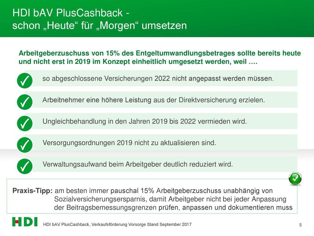 """HDI bAV PlusCashback - schon """"Heute für """"Morgen umsetzen"""