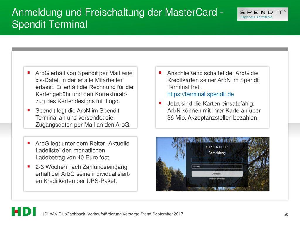 Anmeldung und Freischaltung der MasterCard - Spendit Terminal