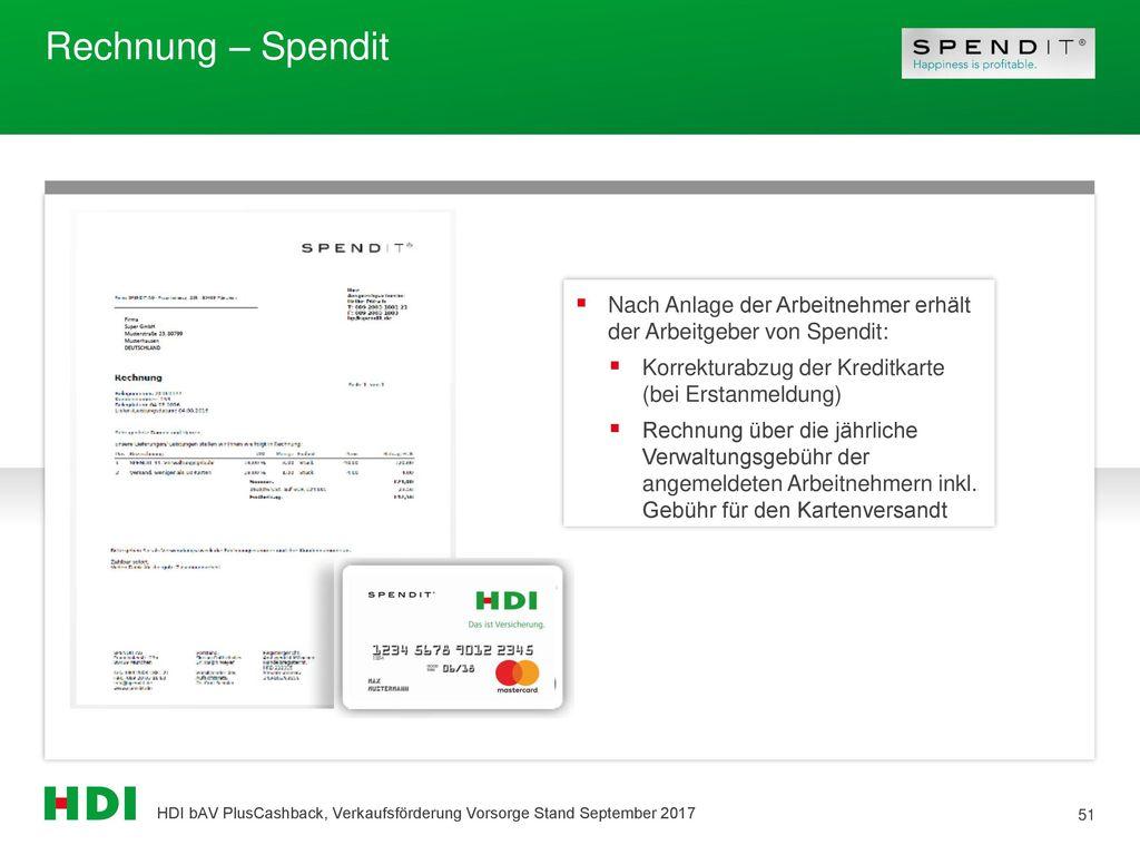 Rechnung – Spendit Nach Anlage der Arbeitnehmer erhält der Arbeitgeber von Spendit: Korrekturabzug der Kreditkarte (bei Erstanmeldung)