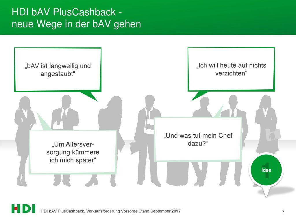 HDI bAV PlusCashback - neue Wege in der bAV gehen