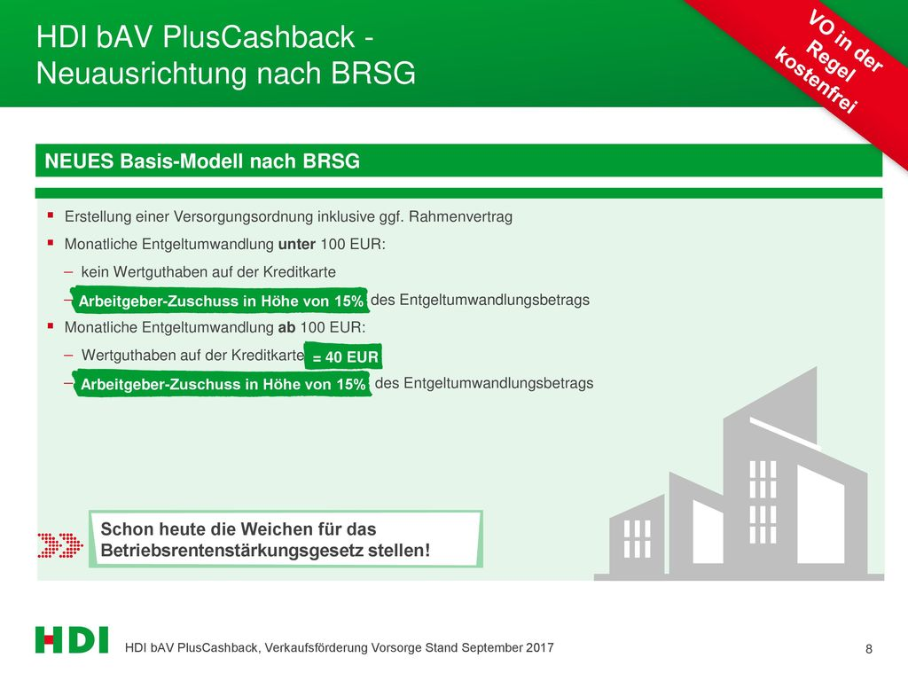 HDI bAV PlusCashback - Neuausrichtung nach BRSG