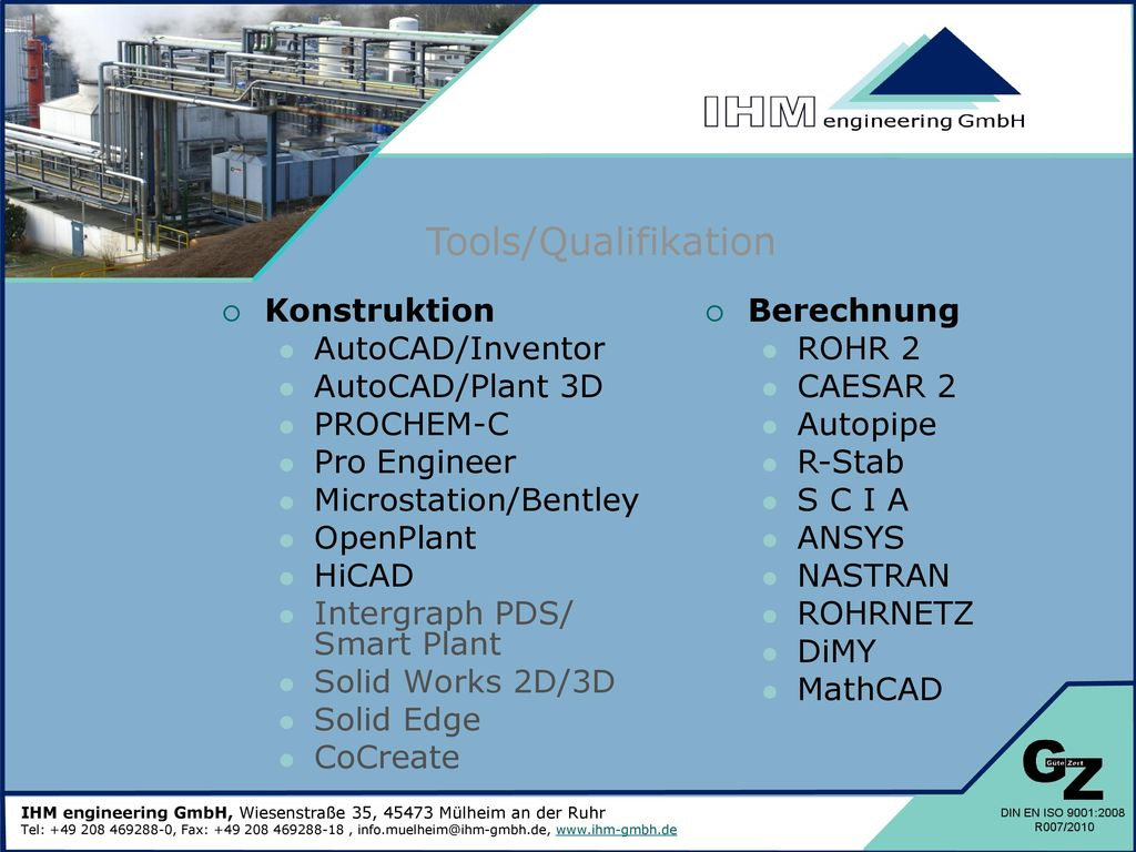 Tools/Qualifikation Konstruktion AutoCAD/Inventor AutoCAD/Plant 3D