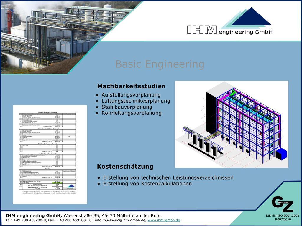 Basic Engineering Machbarkeitsstudien Kostenschätzung