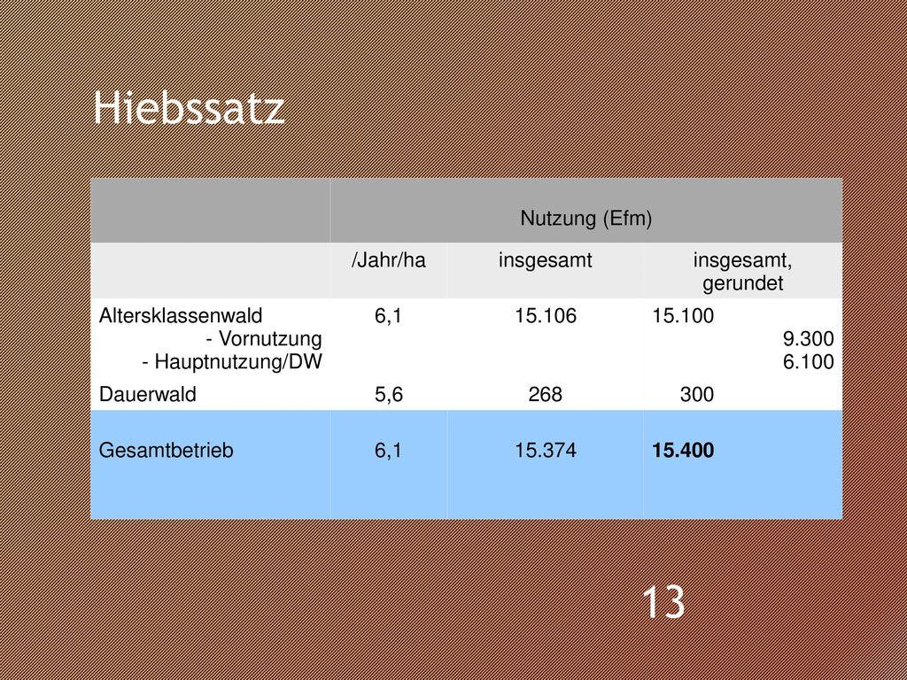 Hiebssatz Nutzung (Efm) /Jahr/ha insgesamt insgesamt, gerundet