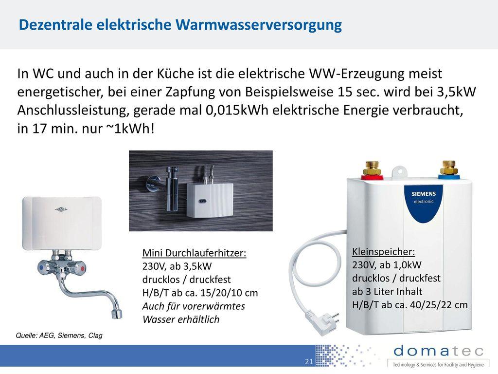 Dezentrale elektrische Warmwasserversorgung