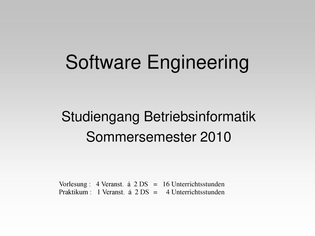 Studiengang Betriebsinformatik Sommersemester 2010