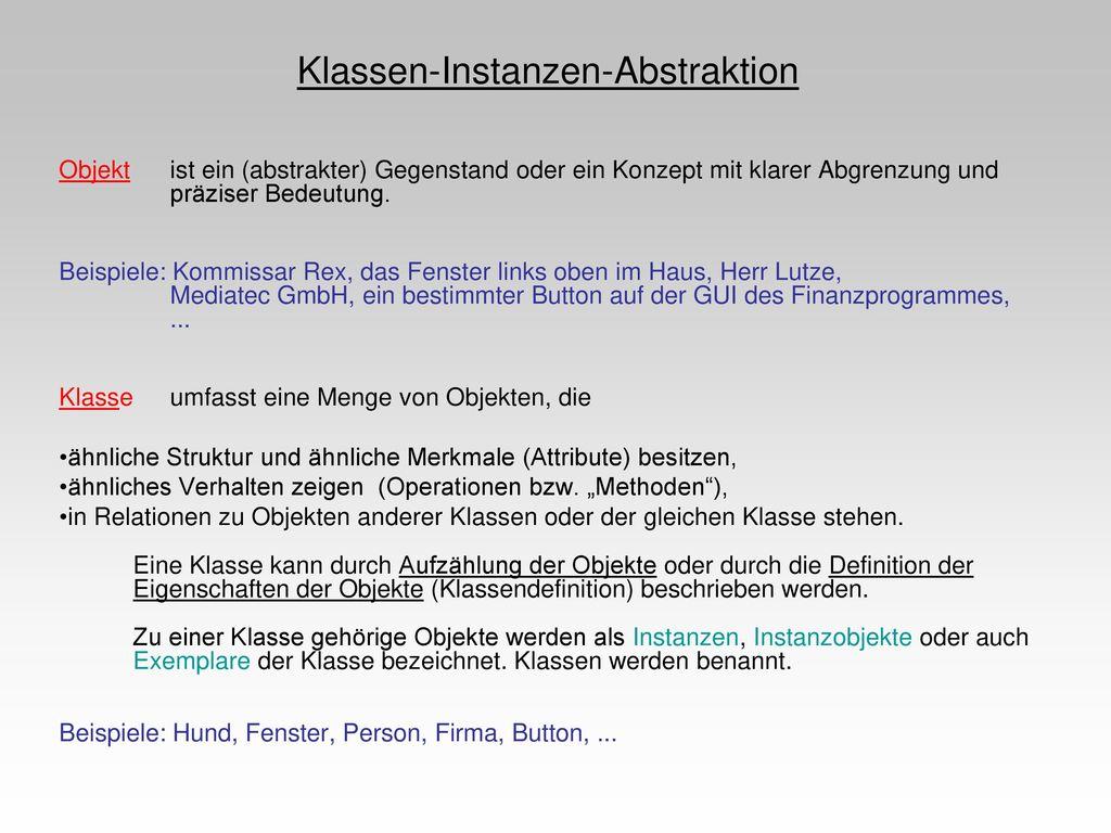 Klassen-Instanzen-Abstraktion