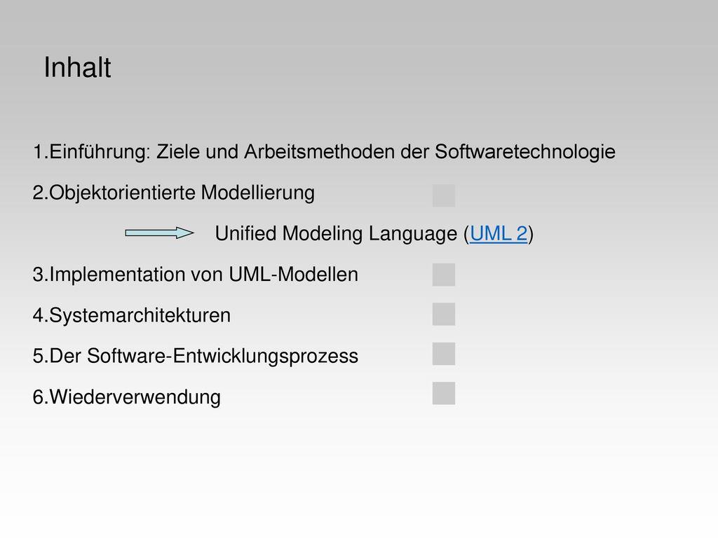 Inhalt Einführung: Ziele und Arbeitsmethoden der Softwaretechnologie