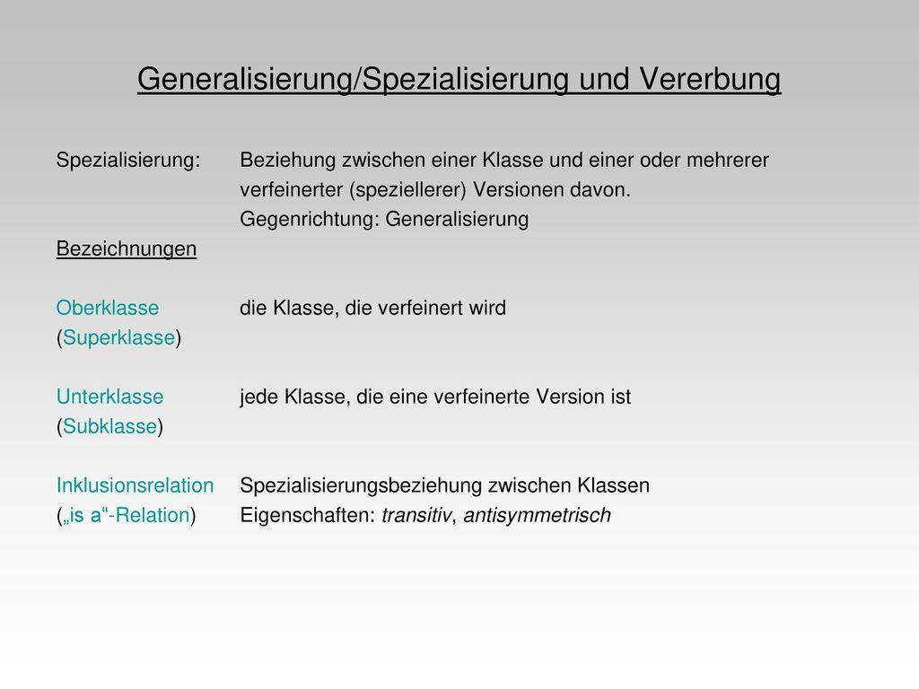 Generalisierung/Spezialisierung und Vererbung