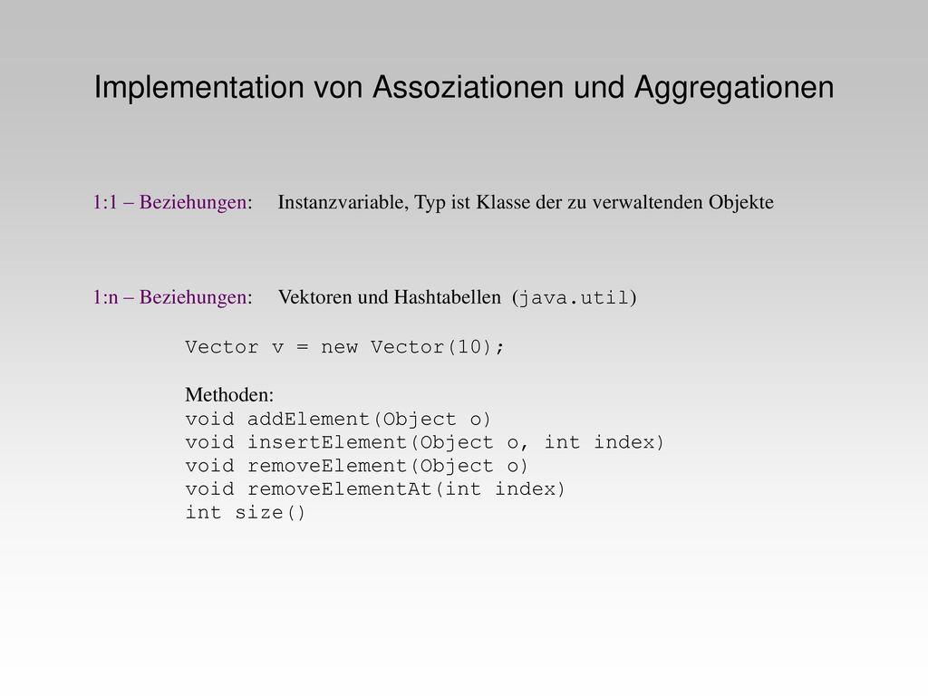 Implementation von Assoziationen und Aggregationen