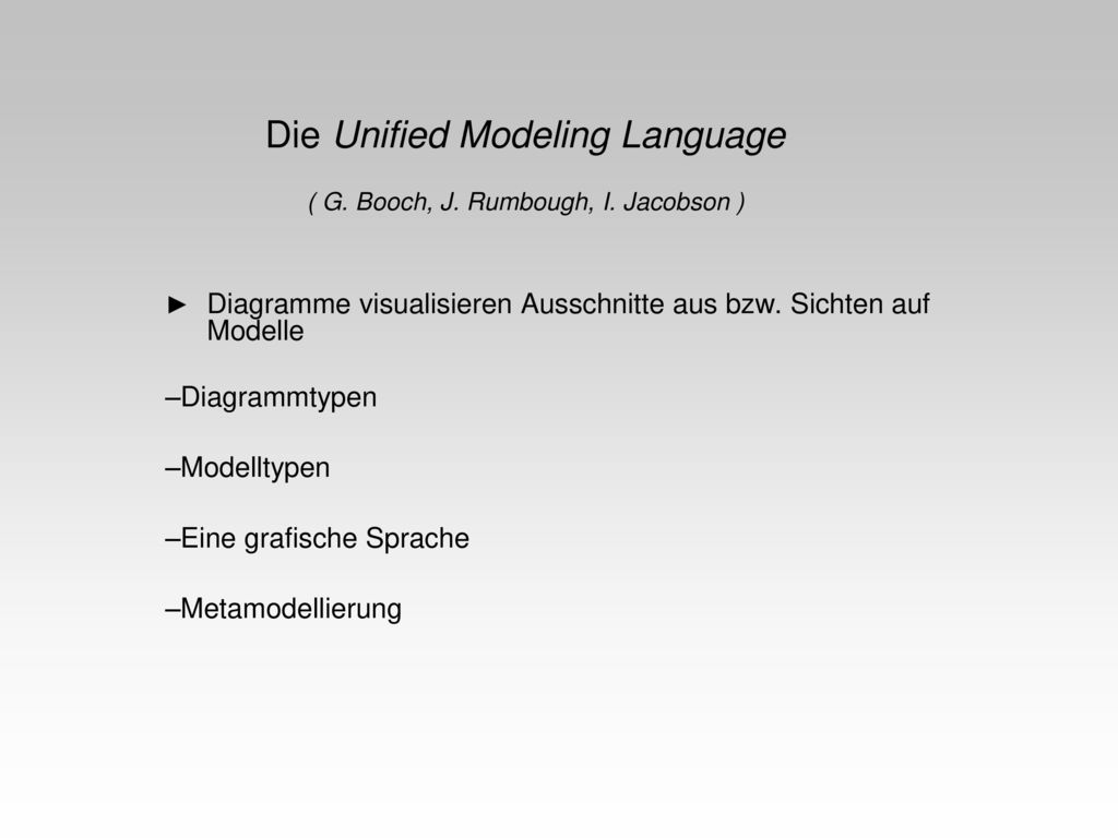 Die Unified Modeling Language ( G. Booch, J. Rumbough, I. Jacobson )