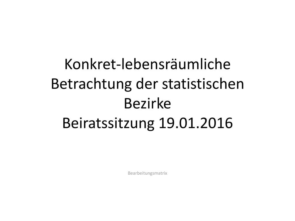 Konkret-lebensräumliche Betrachtung der statistischen Bezirke Beiratssitzung 19.01.2016
