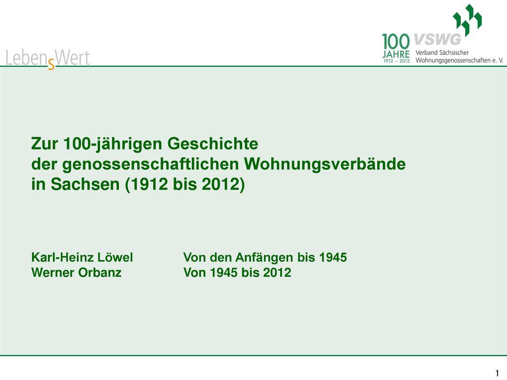 Zur 100-jährigen Geschichte der genossenschaftlichen Wohnungsverbände