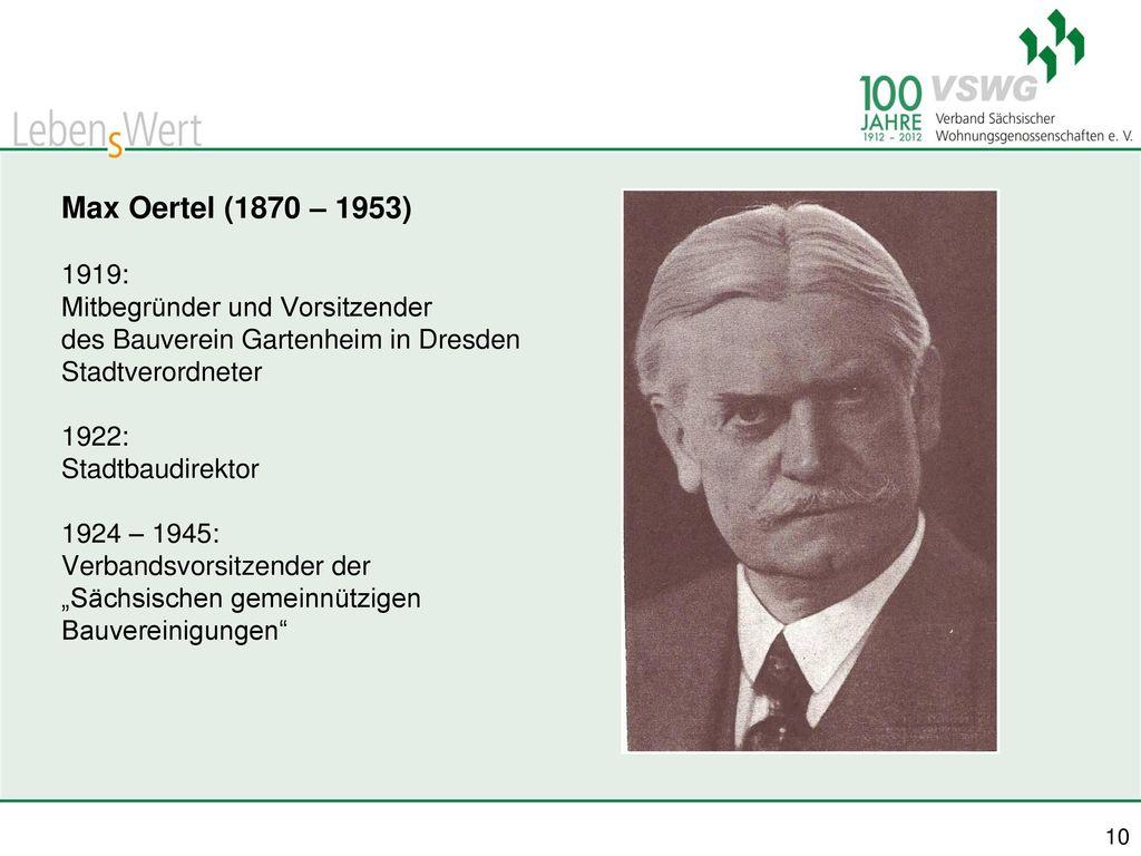 Max Oertel (1870 – 1953) 1919: Mitbegründer und Vorsitzender