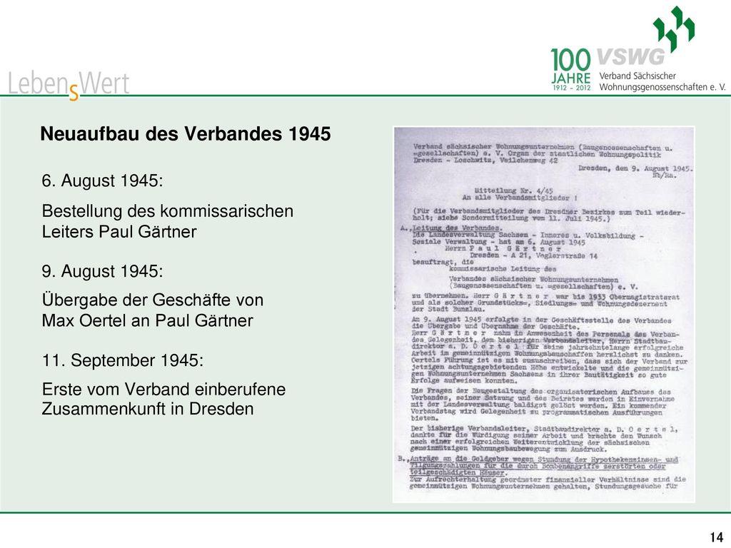 Neuaufbau des Verbandes 1945