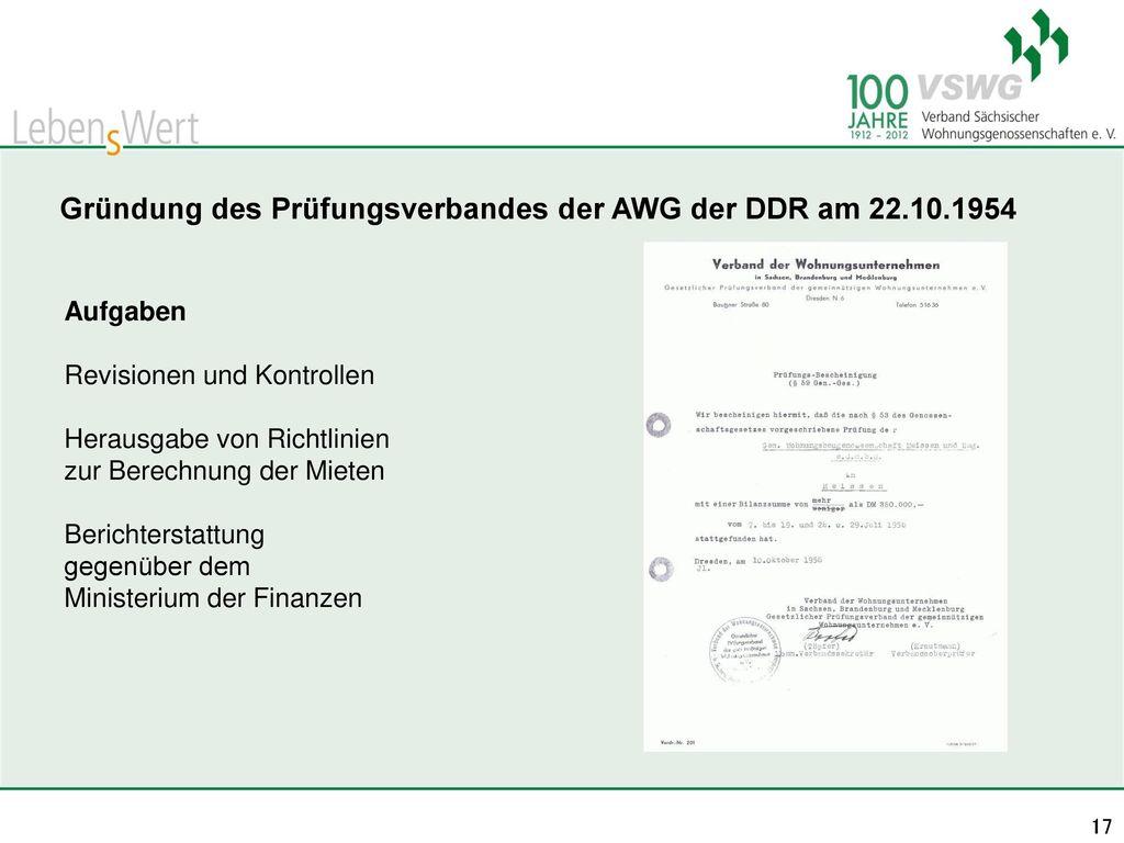 Gründung des Prüfungsverbandes der AWG der DDR am 22.10.1954