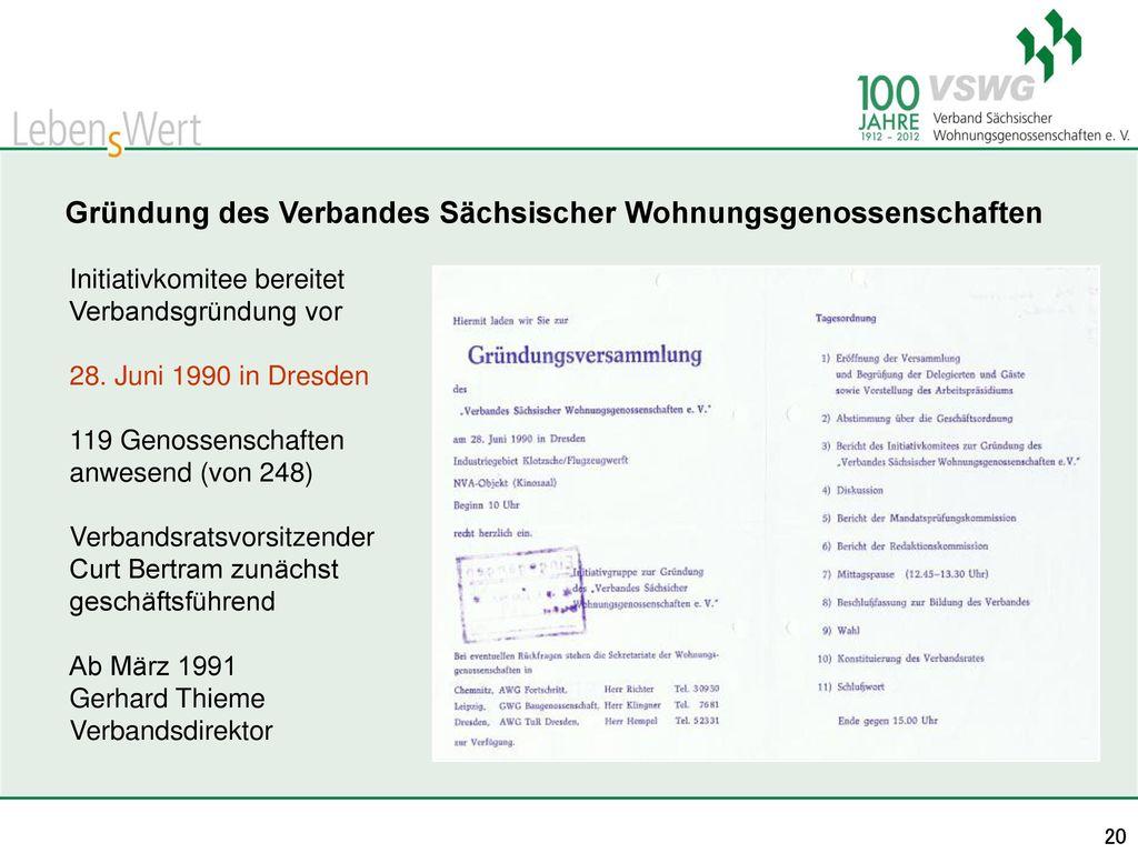 Gründung des Verbandes Sächsischer Wohnungsgenossenschaften