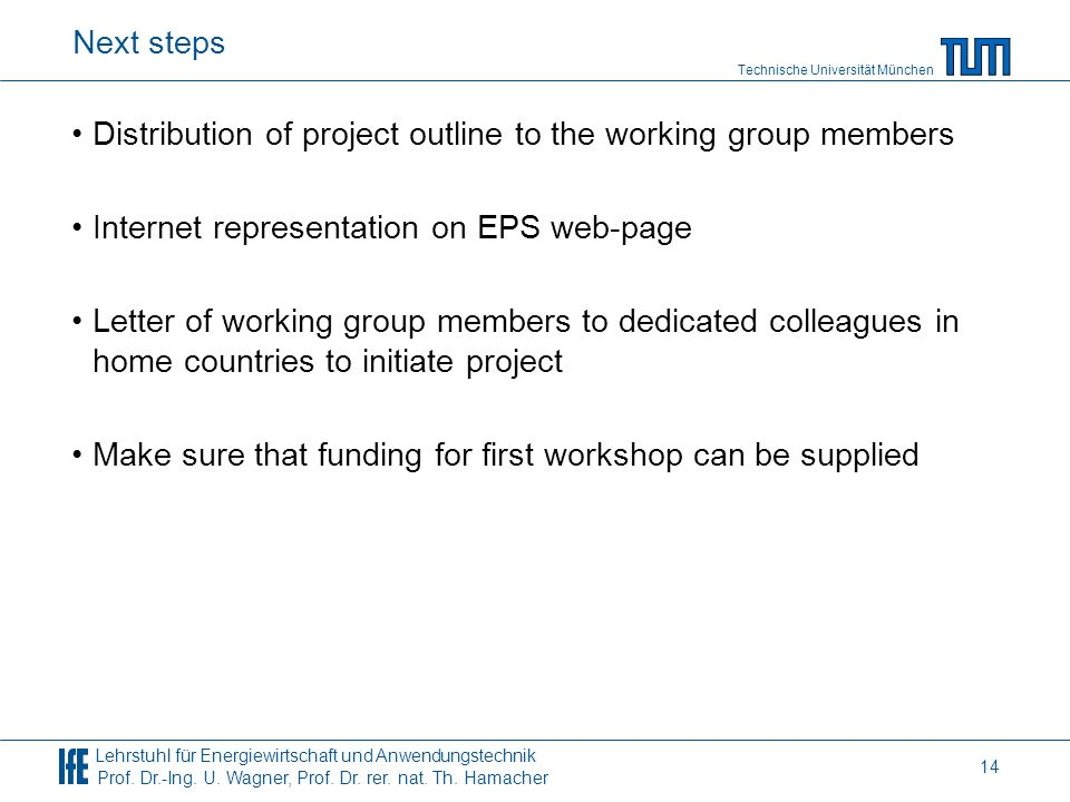 Next steps Distribution of project outline to the working group members. Internet representation on EPS web-page.