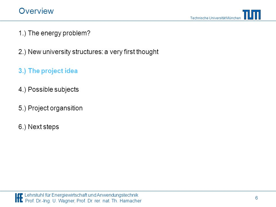Overview 1.) The energy problem