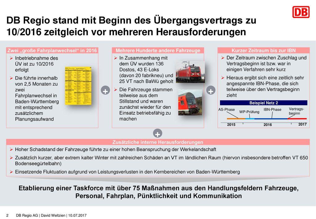 DB Regio stand mit Beginn des Übergangsvertrags zu 10/2016 zeitgleich vor mehreren Herausforderungen