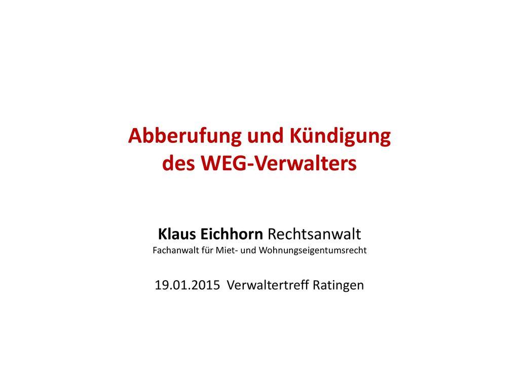 Abberufung und Kündigung des WEG-Verwalters