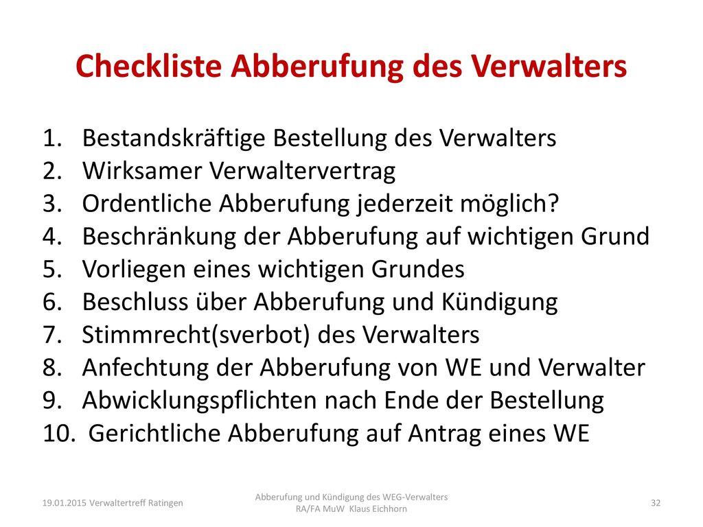 Checkliste Abberufung des Verwalters