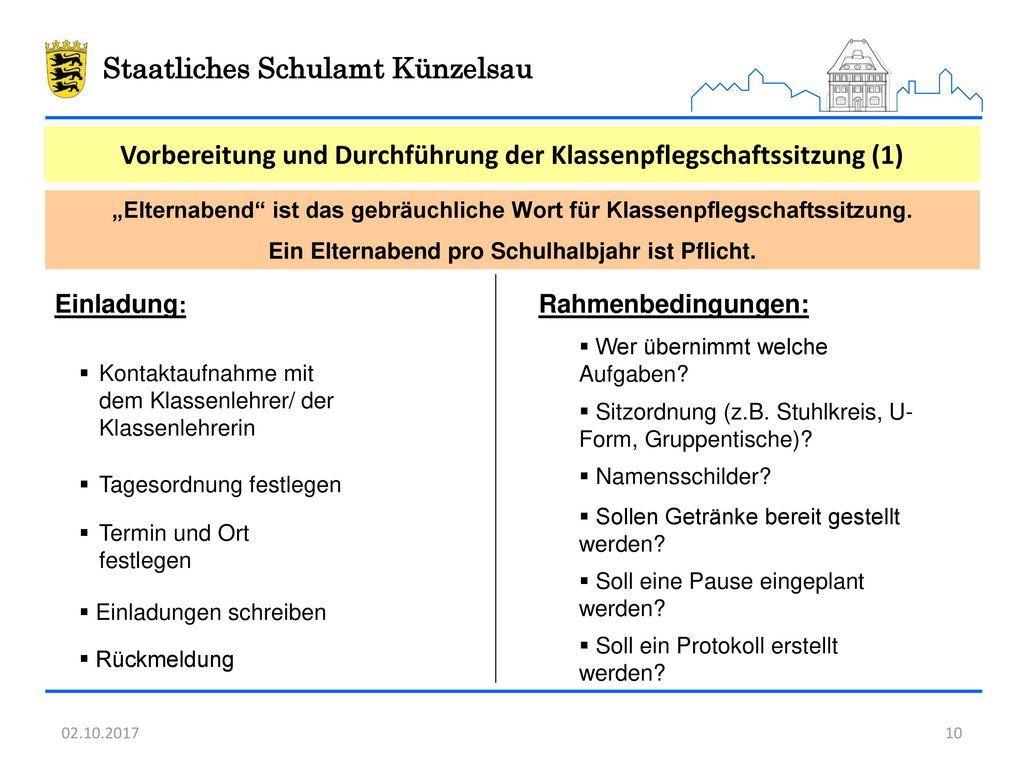 Vorbereitung und Durchführung der Klassenpflegschaftssitzung (1)