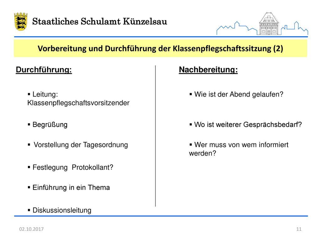Vorbereitung und Durchführung der Klassenpflegschaftssitzung (2)