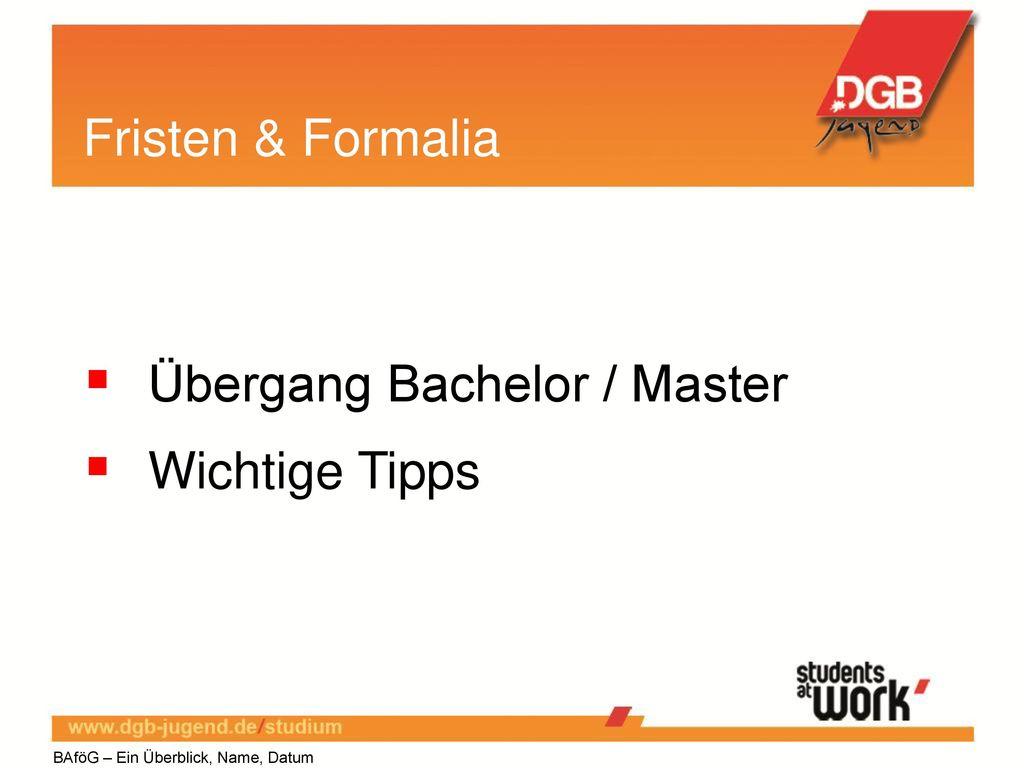 Übergang Bachelor / Master Wichtige Tipps