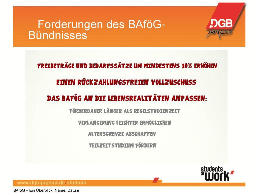 Forderungen des BAföG-Bündnisses