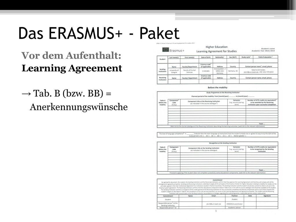 Das ERASMUS+ - Paket Vor dem Aufenthalt: Learning Agreement → Tab.