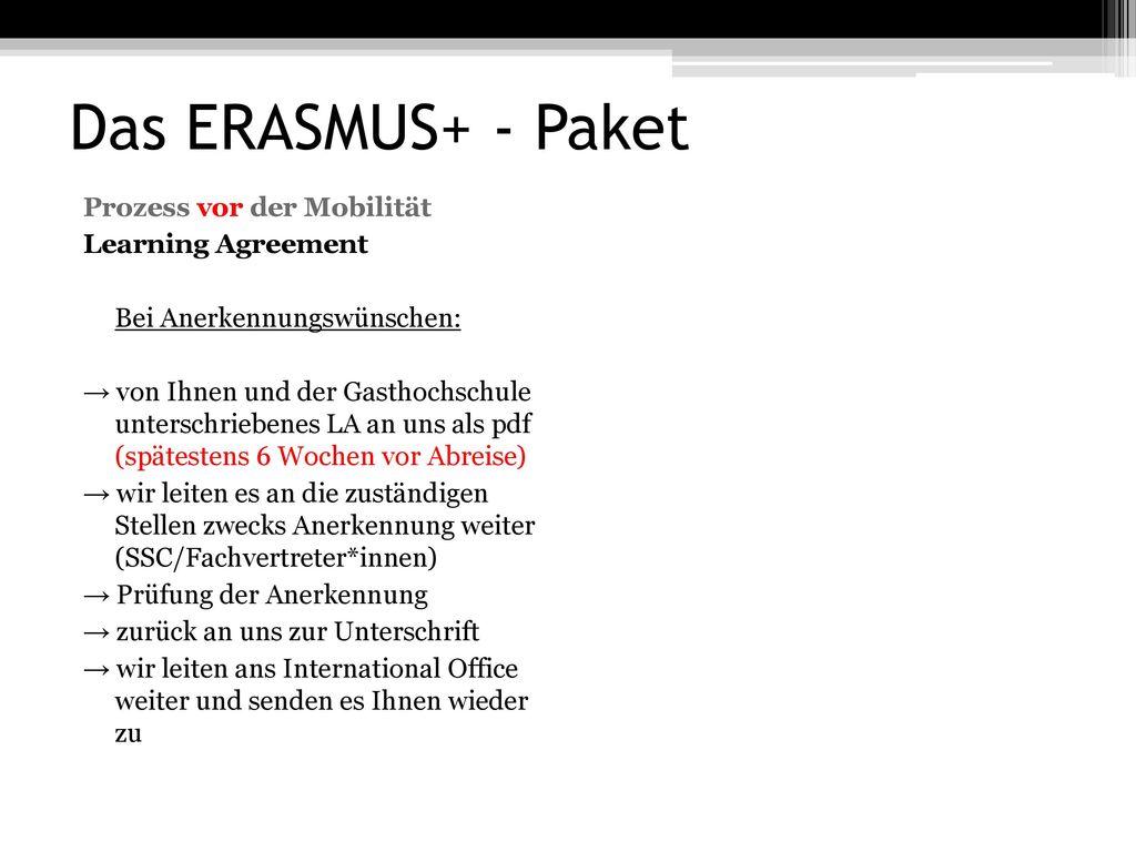 Das ERASMUS+ - Paket