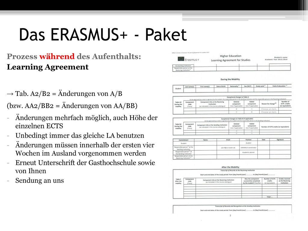 Das ERASMUS+ - Paket Prozess während des Aufenthalts: