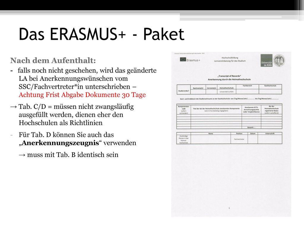 Das ERASMUS+ - Paket Nach dem Aufenthalt: