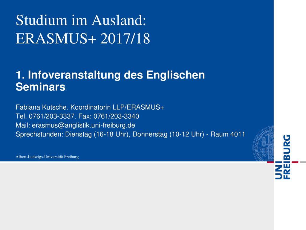 Studium im Ausland: ERASMUS+ 2017/18