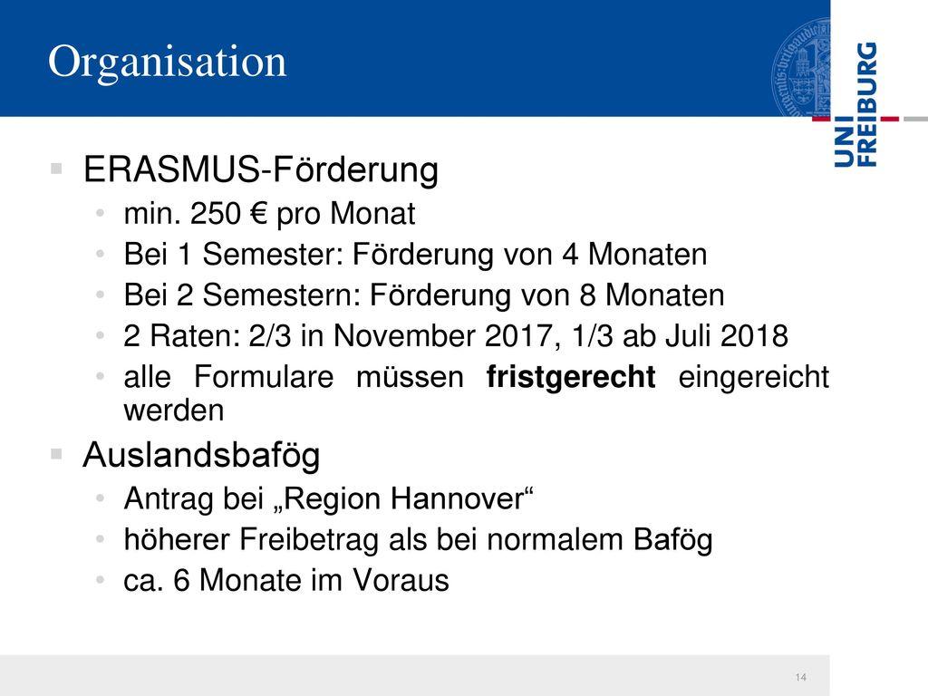 Organisation ERASMUS-Förderung Auslandsbafög min. 250 € pro Monat