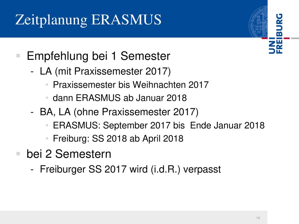 Zeitplanung ERASMUS Empfehlung bei 1 Semester bei 2 Semestern
