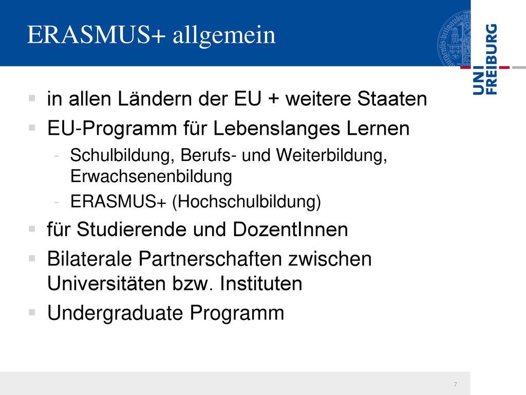 ERASMUS+ allgemein in allen Ländern der EU + weitere Staaten