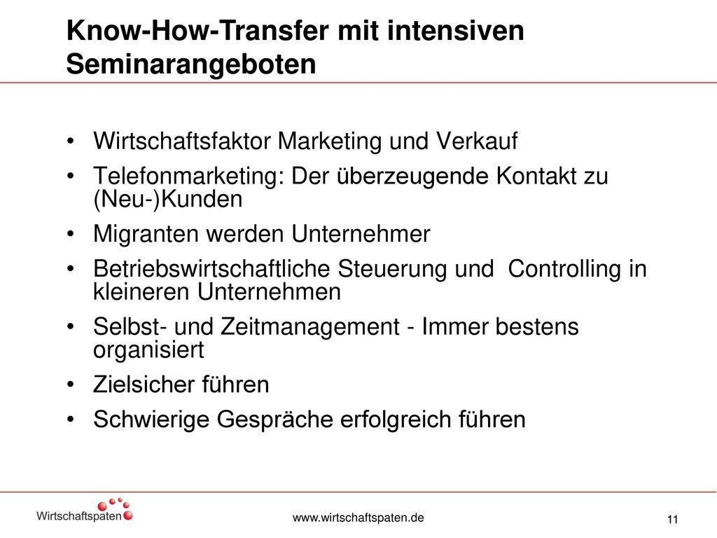 Know-How-Transfer mit intensiven Seminarangeboten